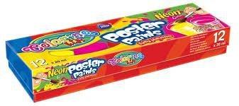 Farby Colorino Kids plakatowe 12 kolorów neon 20 ml