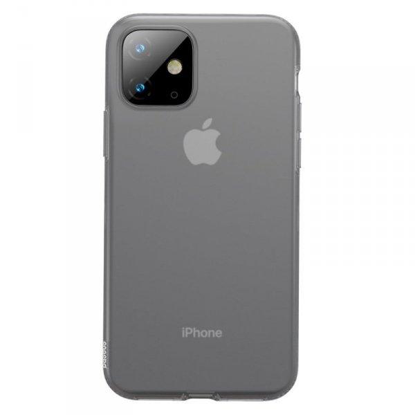 Baseus Jelly matowo przezroczyste żelowe etui pokrowiec iPhone 11 czarny (WIAPIPH61S-GD01)