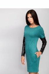 Sukienka z rękawami z eko-skóry MM1012 Turkus