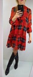 Sukienka Krata Wiązanie Red Oversize