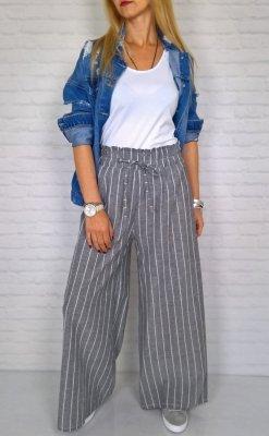 Włoskie Szerokie Spodnie Pasy Grey