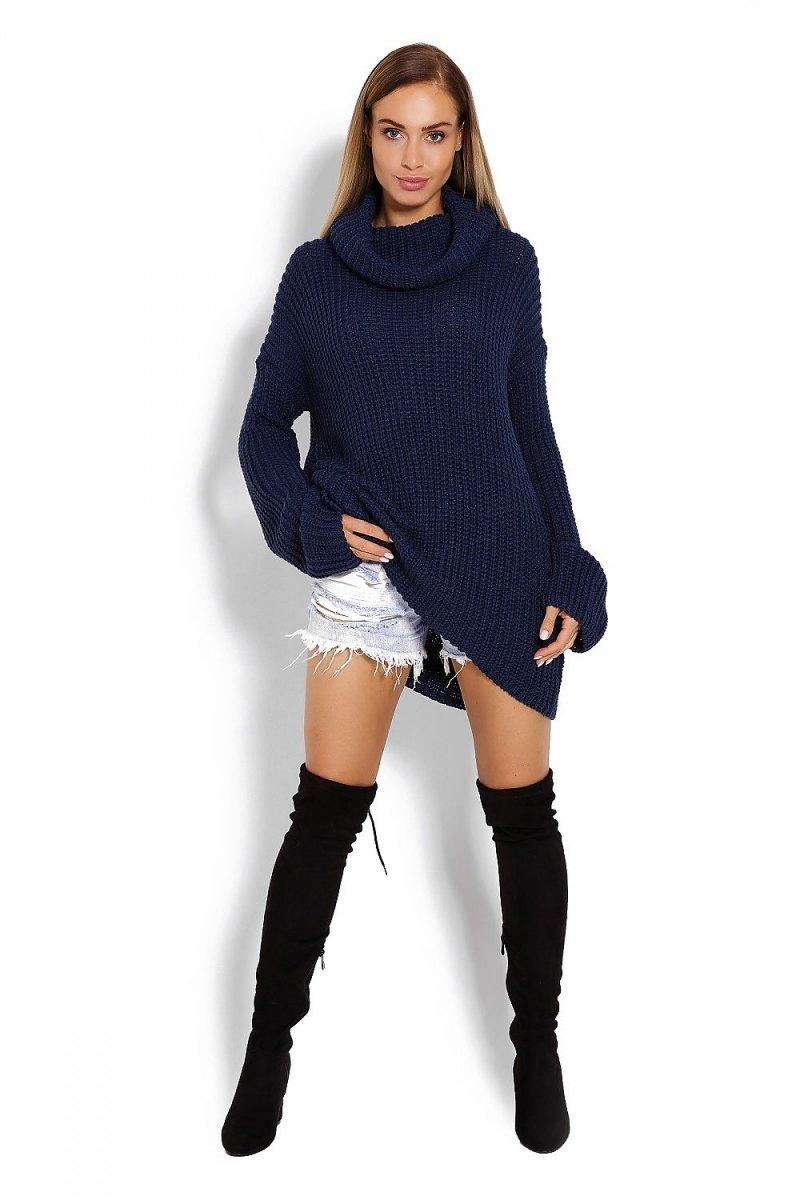 Długi Sweter Peekaboo Granat