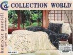 Pościel Collection World 160x200 Beżowa - Granatowa 100% bawełna wz 617