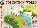 Pościel Collection World 160x200 dla dzieci -Niebieska ze Zwierzętami - 100% bawełna wz 371