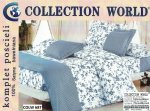 Pościel Collection World 160x200 Biało - Niebieska w Kwiaty 100% bawełna wz 687
