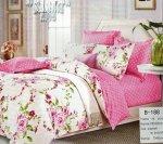 Pościel Mengtianzi Biała - Różowa w Kwiaty 160x200 100% bawełna B-188