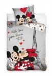 Pościel młodzieżowa Myszka Mickey i Minnie Paryż 140x200 cm 100% bawełna. Myszka Minnie Paris.