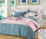 Pościel Mengtianzi 180x200 Szara - Różowa z Kokardką 100% bawełna B-537