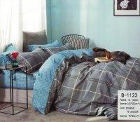 Pościel Mengtianzi 160x200 Niebieska - Szara w Kratkę 100% bawełna wz B-1123
