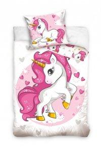 Pościel z Jednorożcem dla dzieci 160x200 Carbotex 100% bawełna Biało Biała - Różowa dla dziewczynki. Pościel Jednorożec 160x200