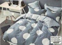 Pościel Collection World 160x200 Szara - Popielata w Grochy 100% bawełna wz 1038