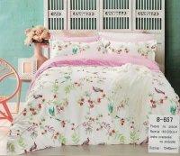 Pościel bawełniana Mengtianzi Biało - Różowa w Kwiaty 140x200 cm B-657