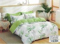 Pościel Collection World 200x220 Biało - Zielona w Liście 100% bawełna wz 1415