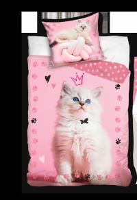 Pościel dla dziewczynki z Kotem Carbotex 100% bawełna. Różowa pościel 3D z kotkiem 160x200