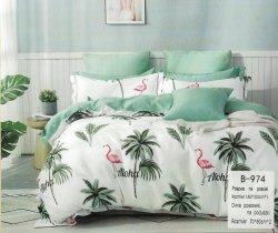 Pościel Mengtianzi 160x200 Biała - Zielona we Flamingi  100% bawełna wz B-974