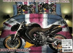 Pościel 3D Motor Ścigacz Cotton World 100% mikrowłókno wz. Motor 06. Poście Motorem 160x200.