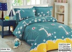 Pościel Collection World 160x200 dla dzieci Niebieska z Żyrafami  - 100% bawełna wz 763