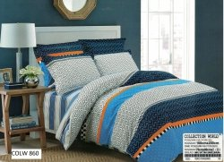 Pościel Collection World 160x200 Szara  - Niebieska 100% bawełna wz 860