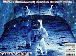 Pościel 3D Astronauta 160x200 Cotton World 100% mikrowłókno. Pościel 3D księżyc.
