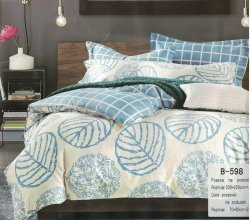 Pościel Mengtianzi Ecru - Niebieska 200x220 cm 100% bawełna B-598