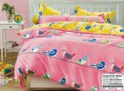 Pościel Collection World 160x200 dla dzieci - Żółto - Różowa z ptaszkami - 100% bawełna wz 881