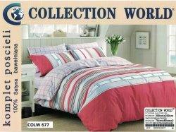 Pościel Collection World 200x220 CZerwona 100% bawełna wz 677
