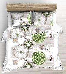 Pościel 200x220 Biała w Kwiaty 100% bawełna Tęcza wz 1085