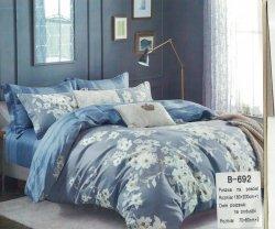 Pościel Mengtianzi Szara - Niebieska w Kwiaty 160x200 100% bawełna B-692