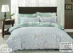 Pościel Collection World 200x220 Szara - Zielona w Kwiaty wz 706