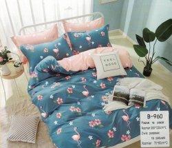Pościel Mengtianzi Niebieska - Różowa we Flamingi 200x220 100% bawełna B-960. Pościel we Flamingi 200x220.