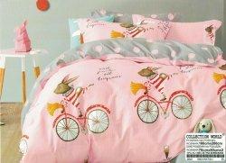Pościel Collection World 160x200 dla dzieci - Szara - Różowa z Króliczkami - 100% bawełna wz 941