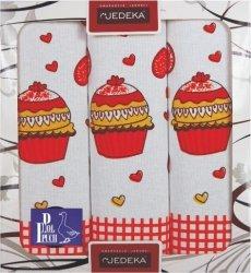 Komplet Ściereczek kuchennych Babeczki - Jedeka 3szt. 50x70 cm wz 8