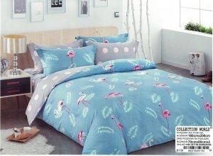 Pościel Collection World 160x200 Błękitna - Szara we Flamingi 100% bawełna wz 1194