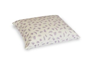 Poduszka z piór dartych ręcznie 70x80 cm Ecru w fioletowe piórka. Poduszka pierze darte Polpuch