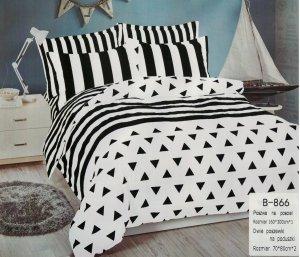 Pościel Mengtianzi 160x200 Biała - Czarna 100% bawełna wz B-866