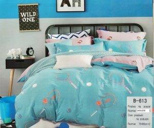 Pościel Mengtianzi 140x200 Niebieska - Różowa 100% bawełna B-613