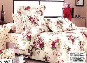 Pościel Collection World 160x200 Ecru w  Róże 100% bawełna wz 667