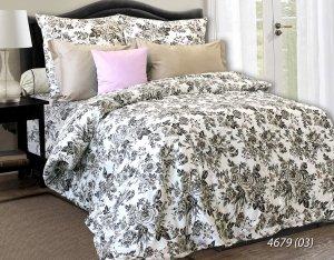 Pościel satynowa Luxury 200x220 Biała w Kwiaty 100% bawełna. Pościel w kwiaty 200x220