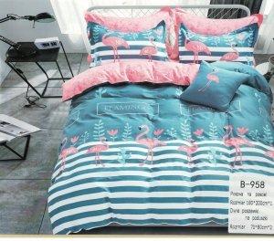 Pościel Mengtianzi Niebieska - Różowa we Flamingi 180x200 100% bawełna B-958. Pościel 180x200 we Flamingi.