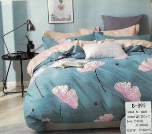 Pościel Mengtianzi 160x200 Niebieska - Beżowa w Liście  100% bawełna wz B-892
