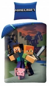 Pościel Minecraft 140x200 Alex, Stiff, Pig. Pościel dla dzieci Minecraft kolorowa.
