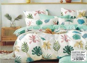Pościel Collection World 160x200  Ecru- Zielona  w Liście 100% bawełna wz 1428
