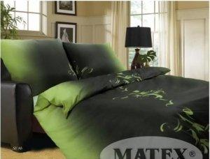 Pościel satynowa Matex Exclusive 140x200 cm Zielona - Czarna 100% bawełna wz SE-8B