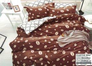 Pościel Collection World 160x200 Biało - Brązowa w Ziarna Kawy 100% bawełna wz 977