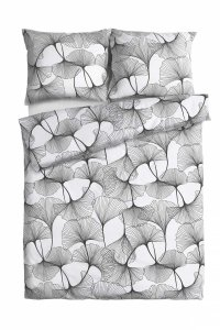 Ekskluzywna pościel satynowa Andropol 160x200 cm 100% bawełna wz. 18 589/1.  Biała - Szara pościel w kwiaty160x200
