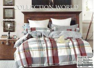 Pościel Collection World 200x220 Brązowa w kratkę 100% bawełna wz 699