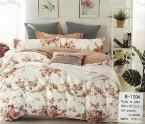 Pościel Mengtianzi Beżowa - Biała w Kwiaty 200x220 100% bawełna B-1004. Pościel w Kwiaty 200x220.