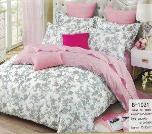 Pościel Mengtianzi 160x200 Biała - Różowa w Kwiaty 100% bawełna wz B-1021