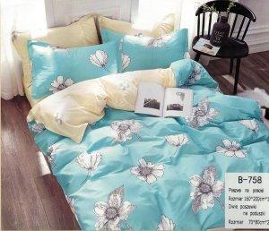 Pościel Mengtianzi 160x200 Niebieska - Ecru w Kwiaty 100% bawełna wz B-758
