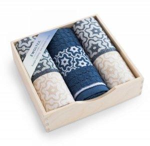Komplet kuchenny w drewnianym pudełku. Ścierki kuchenne Zwoltex Marsala Indygo 2x50x70 + 1x30x50 cm